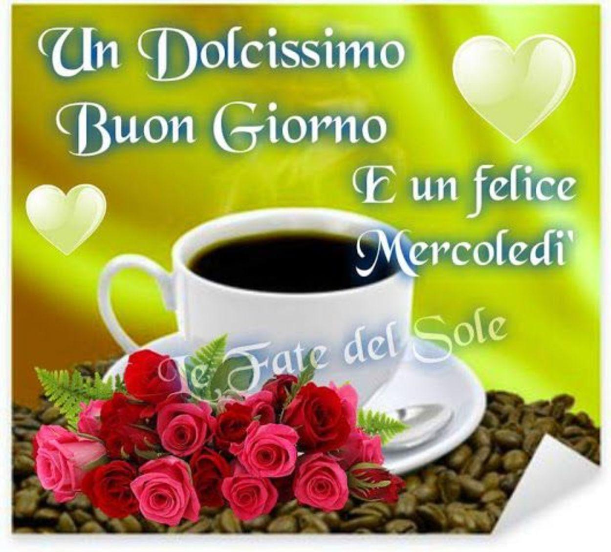 Buona giornata e buon mercoledì con caffè